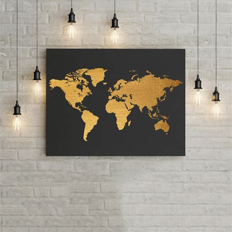 black and gold home decor world map black and gold home decor wall art poster office