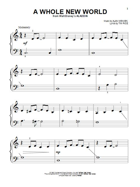 printable lyrics a whole new world a whole new world sheet music direct