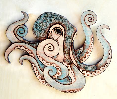 Octopus Decorations by Octopus Wall Hanging Pyrography Wall Hanging Octopus Decor