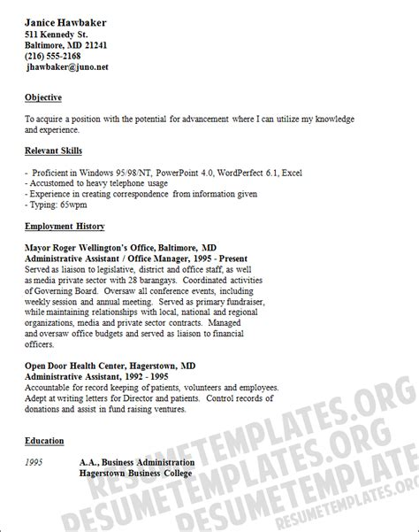 clerical resume templates resume and cover letter