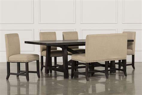 Living Spaces Bench Jaxon 6 Rectangle Dining Set W Bench Upholstered