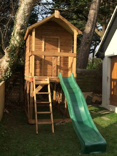 tree house slide deluxe tree house with rock wall slide and access ladder