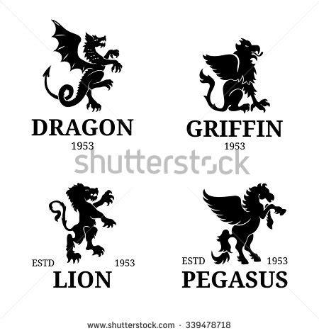 Vector Dragon Logo Template Luxury Monogram Stock Vector 338260223 Shutterstock Griffin Invitation Template