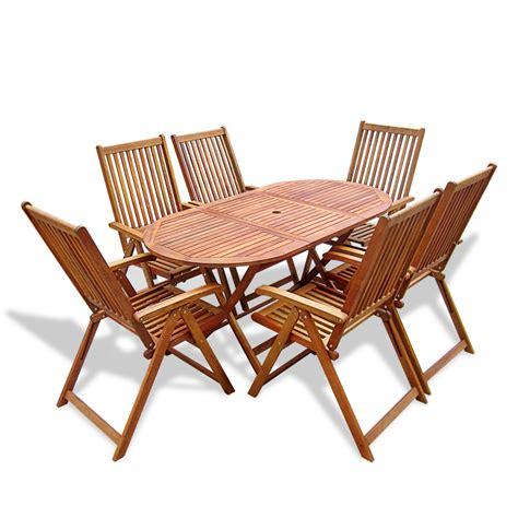 6 Chair Patio Dining Set Vidaxl Wooden Outdoor Dining Set 6 Adjustable Chairs 1 Oval Table Vidaxl