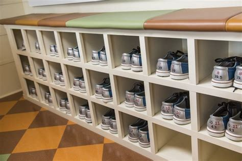 custom built  cubby holes  home bowling alley shoe