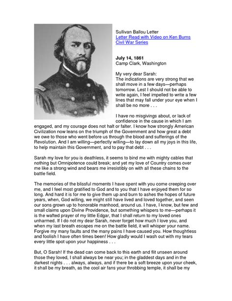 sullivan ballou letter sullivan ballou letter to his one of the 1633