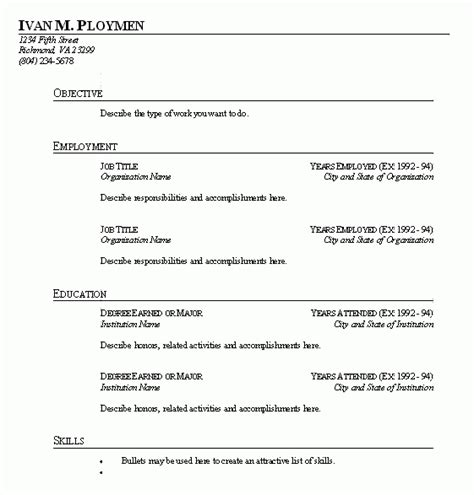 Fill In The Blank Resume by Fill In The Blank Resume Lifiermountain Org