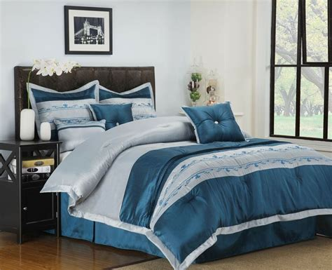 Bed Sets by 7 Pc Comforter Set Blue Silver Bedding