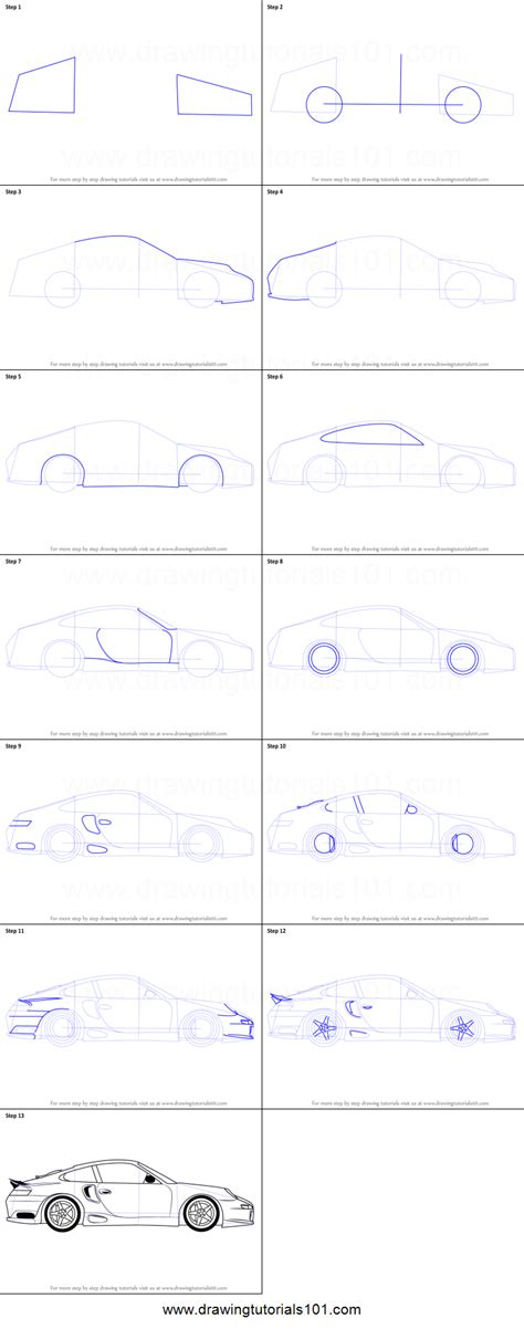 how to draw sports car draw step by step how to draw a porsche car side view printable step by step