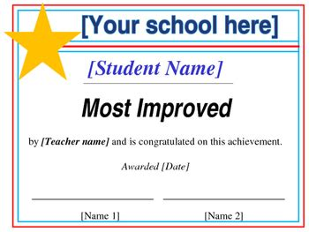 most improved certificate template most improved certificate editable by prestwood s papers tpt