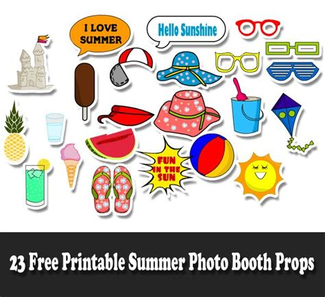 summer beach party 16 piece photo booth props printable free printable photo booth props summer 23 free printable