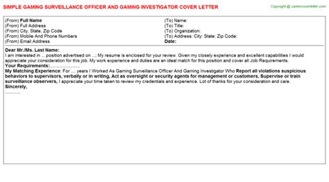 Surveillance Investigator Cover Letter by Surveillance Officer Cover Letters