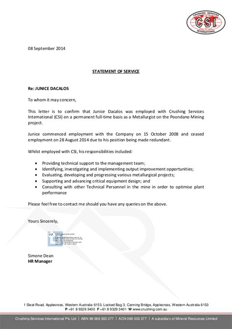 Statement Of Service Letter Exle Dacalos Junice Statement Of Service Sept2014