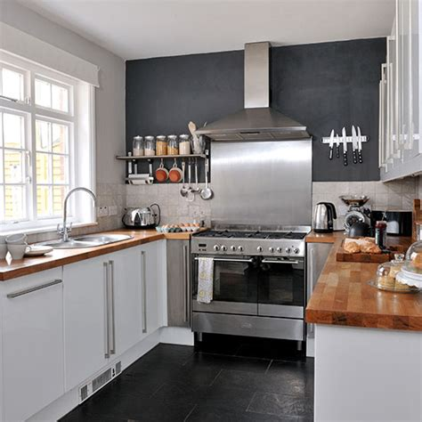 black kitchen with white gloss units kitchen decorating ideal home