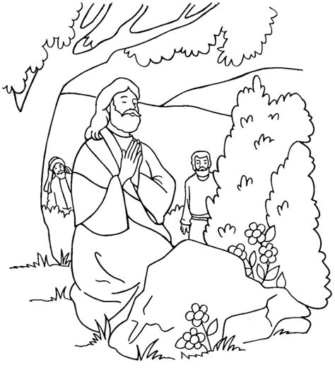 Jesus Praying In The Garden Coloring Page Coloring Pages Praying Coloring Pages