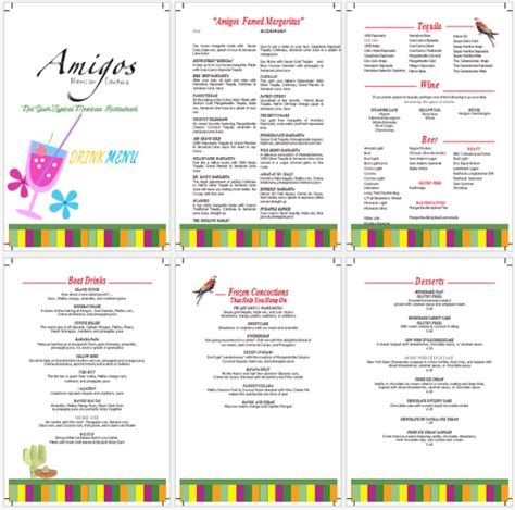 menu layout microsoft word drink menu template 5 best drink menu formats