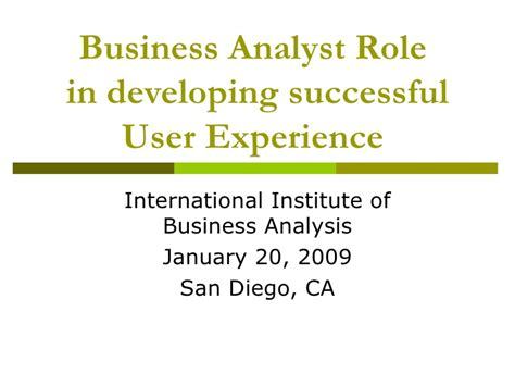 business analyst in developing successful user experience