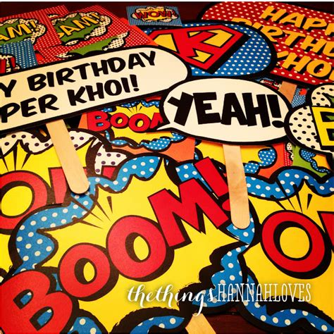 printable superhero photo booth props the things hannah loves superhero birthday party