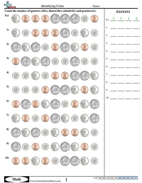 Identifying Coins Worksheets by Money Math Worksheets Wiildcreative