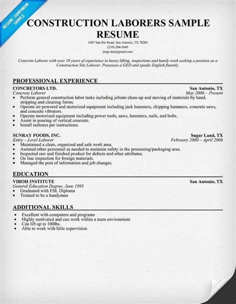 Resume Sles For Construction Workers Construction Laborers Resume Sle Resumecompanion