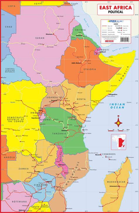 east africa map east africa political wall map mapstudio