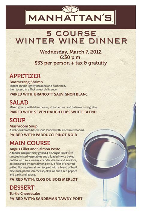 5 course dinner menu 5 course winter wine dinner and wine pairing at manhattan