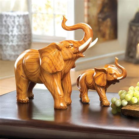 Wholesale Home Decor Accents wholesale lucky trunk up elephant figurine quot wood carving