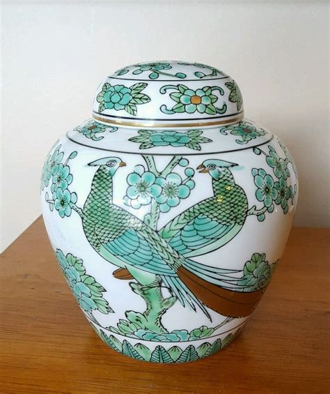 Japanese Hand Painted Vases Beautiful Japan Gold Imari Green Gold Relief Peacock