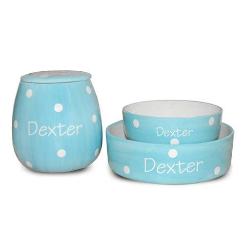 personalised bowls personalised ceramic pastel pink polka dots bowls treat jar set pawfect petwear