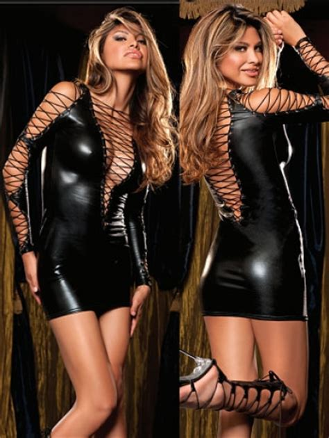 Raveena Rope Dress X S M L rope and clubwear black leather cheap vinyl dresses