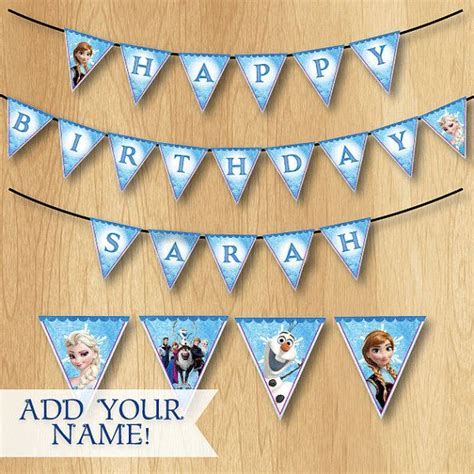 free printable olaf banner frozen birthday banner frozen banner customized elsa