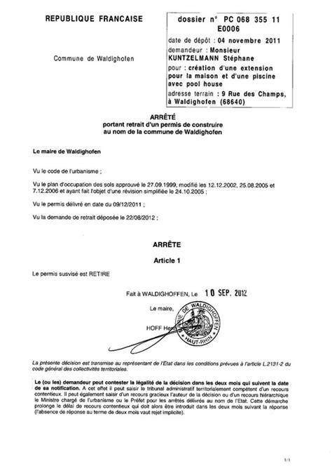 lettre type autorisation de retrait retrait du permis de construire 11e0006 m kuntzelmann st 233 phane waldighoffen