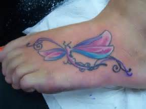 colorful foot tattoos colorful dragonfly on foot tattoobite