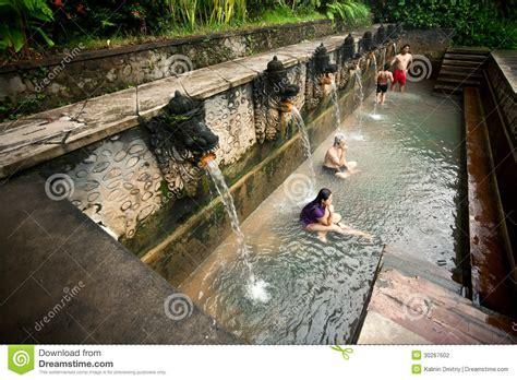 bali january  people   bath  termal banjar