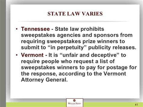 State Sweepstakes Laws - presentation on sweepstakes and contests