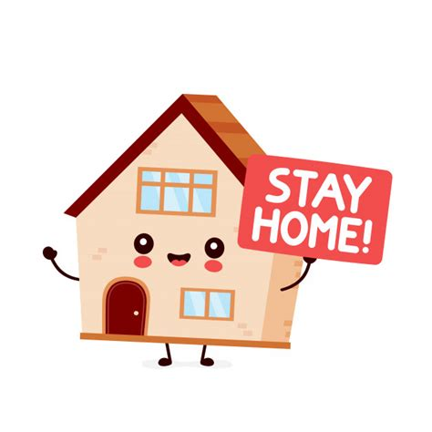 cute house hold sign stay homevector flat style cartoon