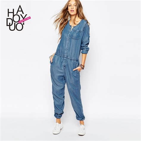Jumpsuit Pendek haoduoyi vintage stretch sleeve denim romper jumpsuits for
