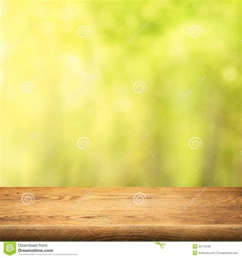 Kitchen 3d Design by Wood Table On Green Summer Forest Background Stock Photo