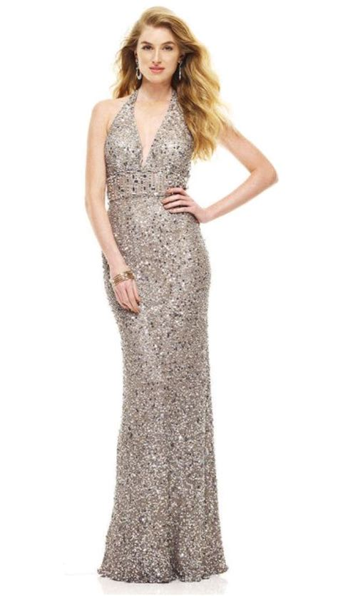 Mm Slkalla Dress scala 47554 sequin halter evening gown with plunging neck