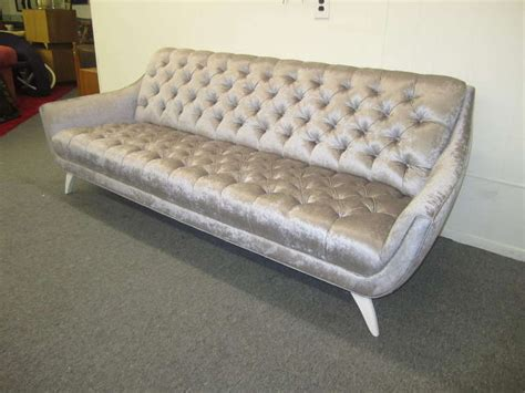 Amazing Regency Modern Silver Grey Velvet Tufted Sofa Mid Silver Tufted Sofa