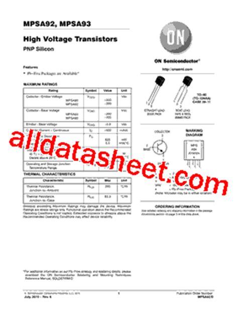 Mpsa92 Mpsa 92 mpsa92 datasheet pdf on semiconductor