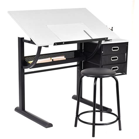 drafting drawing table desk costway drafting table craft drawing desk hobby