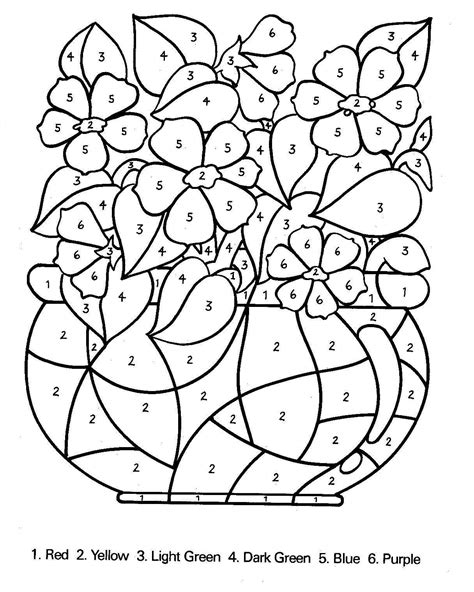 free coloring pages of colour by number 1 5