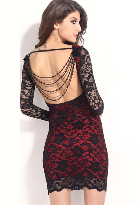 black red lace beaded backless party dress  long sleeve