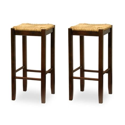 shop winsome wood set of 2 antique walnut 29 in bar stools