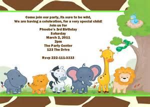 safari jungle animal printable birthday invitation