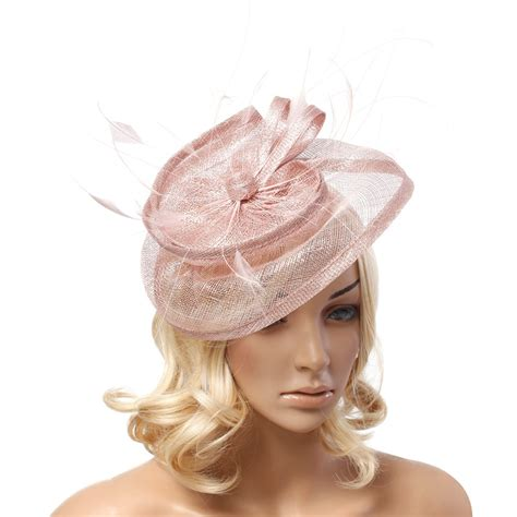 fascinators black ivory flower feather sinamay hats