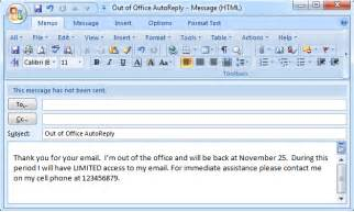 out of office template email set out of office auto reply in outlook 2003 2007 2010