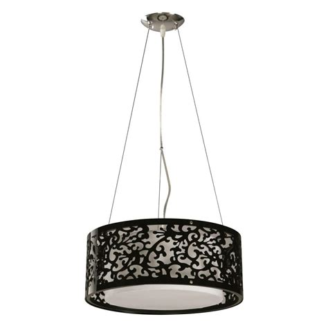 3 light drum pendant hton bay 3 light black ceiling drum pendant 07276 2