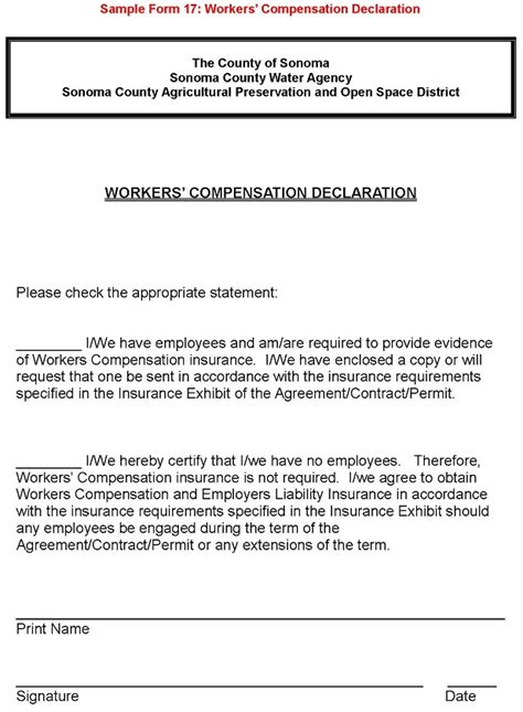 Sample Form 17: Workers' Compensation Declaration Enlarged Office Templates Employee Information